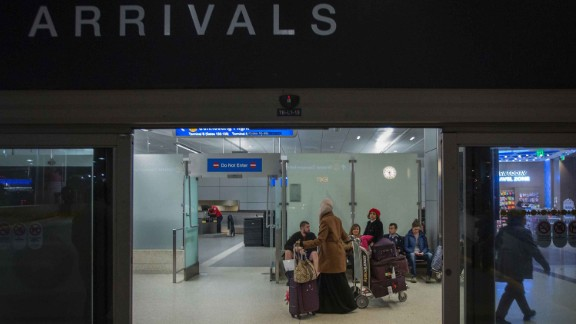 Yemenis who were among those stranded in Djibouti when President Trump ordered his travel ban, arrive to Los Angeles International Airport on February 8, 2017 in Los Angeles, California. (Getty Images)