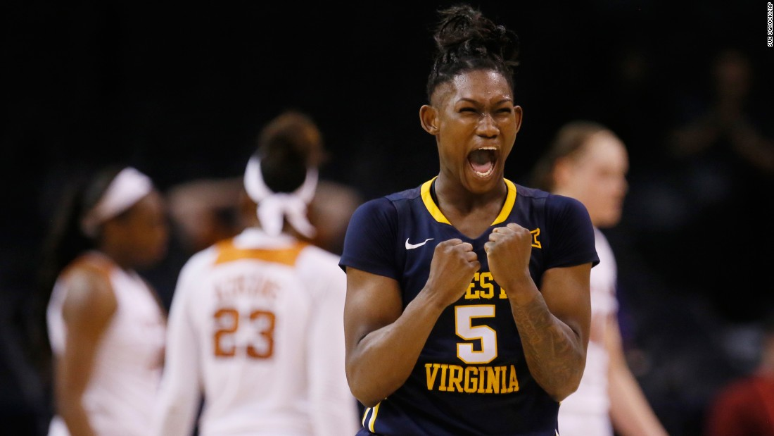 West Virginia guard Tynice Martin shouts after a Big 12 Tournament win against Texas on Sunday, March 5. Martin had 29 points in the semifinal.