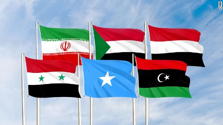 Flags from left to right: Syria, Iran, Somalia, Sudan, Libya and Yemen. An executive order signed Monday by US President Donald Trump bans immigration from these six Muslim-majority countries.