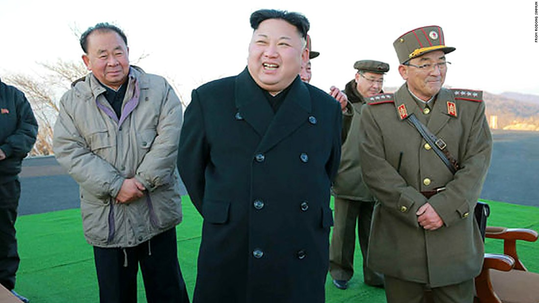 North Korean leader Kim Jong Un (C) supervised the launch of four ballistic missiles on Monday March 6, according to the country's state media.