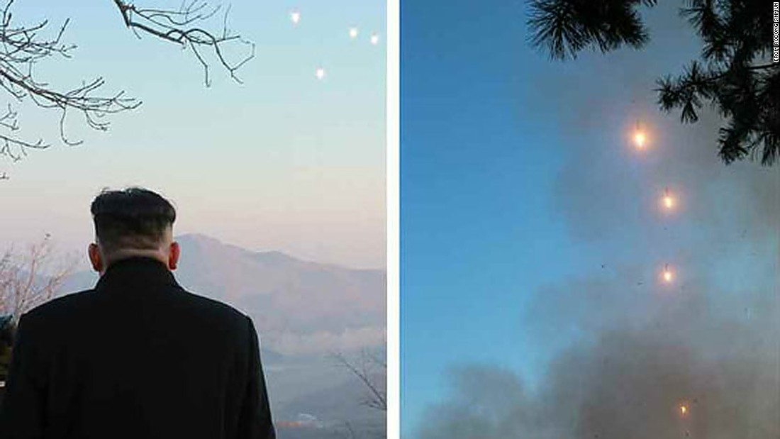North Korean leader Kim Jong Un appears to watch the launch of the four ballistic missiles on March 6, in a photo from state media.