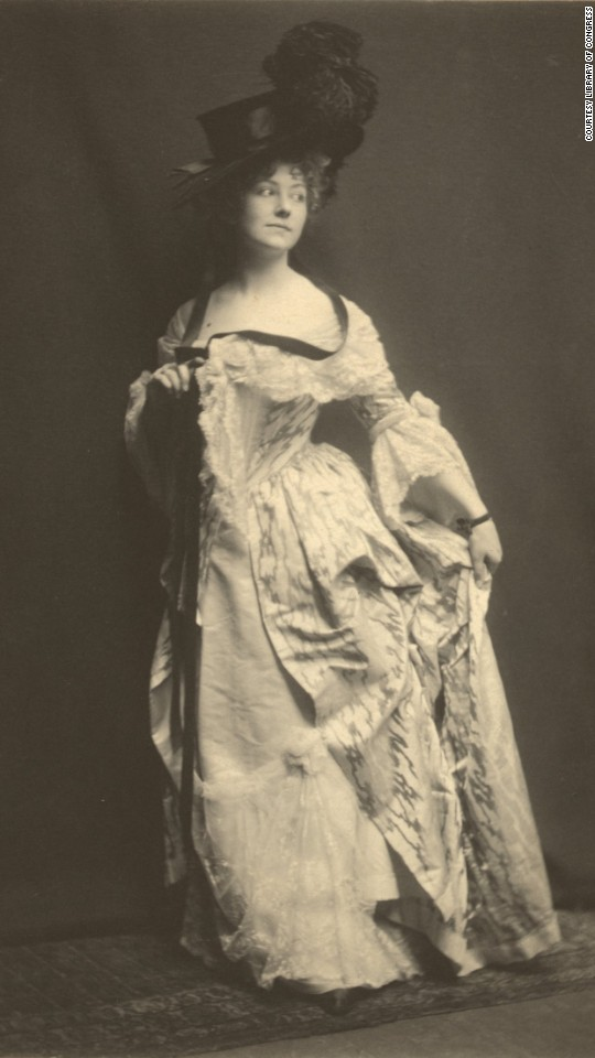 "Actress Elsie Leslie wears her costume for Richard Sheridan's play ""The Rivals."""