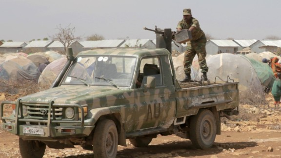 An African Union technical guards a UN mission in Baidoa, Somalia
