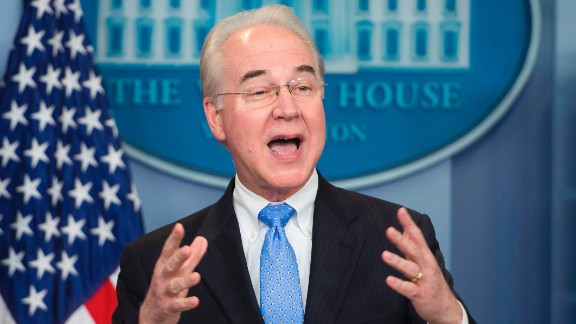 US Secretary of Health and Human Service Tom Price speaks during the daily briefing at the White House in Washington, DC, March 7, 2017. / AFP PHOTO / JIM WATSON        (Photo credit should read JIM WATSON/AFP/Getty Images)
