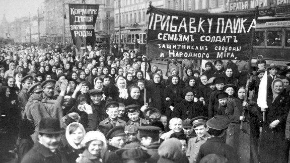 Workers strike in 1917 on the first day of Russia
