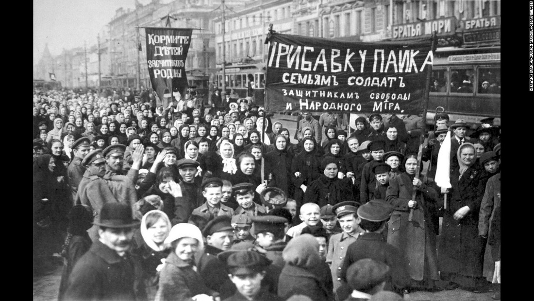 Workers strike in 1917 on the first day of Russia's February Revolution in the capital Petrograd, now known as St Petersburg.