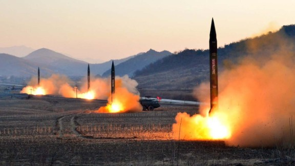 """TOPSHOT - This undated picture released by North Korea's Korean Central News Agency (KCNA) via KNS on March 7, 2017 shows the launch of four ballistic missiles by the Korean People's Army (KPA) during a military drill at an undisclosed location in North Korea.Nuclear-armed North Korea launched four ballistic missiles on March 6 in another challenge to President Donald Trump, with three landing provocatively close to America's ally Japan. / AFP PHOTO / KCNA VIA KNS / STR / South Korea OUT / REPUBLIC OF KOREA OUT   ---EDITORS NOTE--- RESTRICTED TO EDITORIAL USE - MANDATORY CREDIT """"AFP PHOTO/KCNA VIA KNS"""" - NO MARKETING NO ADVERTISING CAMPAIGNS - DISTRIBUTED AS A SERVICE TO CLIENTSTHIS PICTURE WAS MADE AVAILABLE BY A THIRD PARTY. AFP CAN NOT INDEPENDENTLY VERIFY THE AUTHENTICITY, LOCATION, DATE AND CONTENT OF THIS IMAGE. THIS PHOTO IS DISTRIBUTED EXACTLY AS RECEIVED BY AFP.  / STR/AFP/Getty Images"""