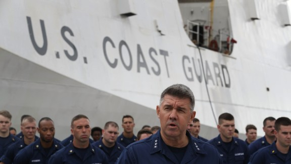 Vice Admiral Karl Schultz, Commander, Coast Guard. Atlantic Area, speaks to the media about the U.S. Coast Guard ship Hamilton and the approximately 26.5 tons of cocaine that was being prepared to be offloaded at Port Everglades on December 15, 2016 in Fort Lauderdale, Florida.