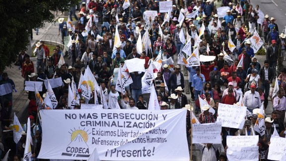 """Protesters march in Guatemala City in March to demand the resignation of Guatemalan President Jimmy Morales for """"his inability to govern"""" and possible acts of corruption."""