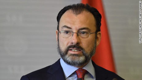 Mexican Foreign Minister Luis Videgaray, delivers a speech next to Turkish Foreign Minister Mevlut Cavusoglu (out of frame) during a press conference at the Foreign Ministry building in Mexico City on February 3, 2017.   Mevlut is on a Latin American and Caribbean countries tour. / AFP / YURI CORTEZ        (Photo credit should read YURI CORTEZ/AFP/Getty Images)