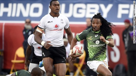 Cecil Afrika of South Africa carries the ball in the Cup Final championship rugby match against Fiji on day three of the USA Sevens Rugby tournament, part of the World Rugby Sevens Series, March 5, 2017 in Las Vegas, Nevada. South Africa won 19-12. / AFP PHOTO / David Becker        (Photo credit should read DAVID BECKER/AFP/Getty Images)