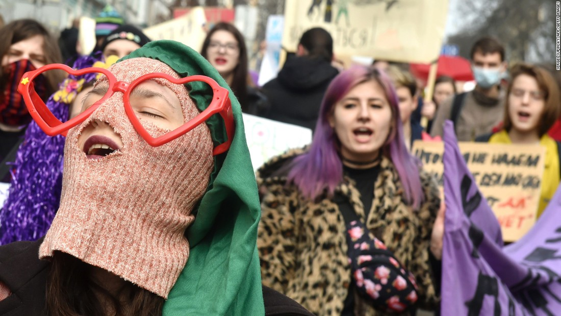 Women shout slogans during a march in Kiev, Ukraine.