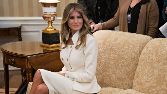 US first lady Melania Trump sits in the Oval Office during a meeting between President Donald Trump and Israeli Prime Minister Benjamin Netanyahu at the White House on February 15, 2017 in Washington, D.C.