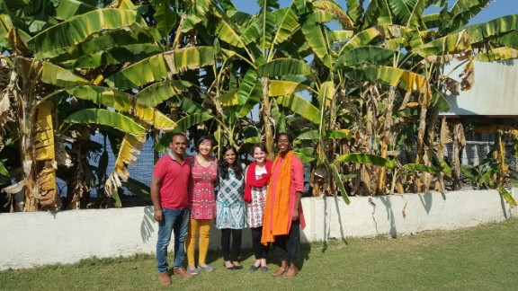 Tarun Bothra, left, Kristin Kagetsu, Amrita Saigal, Grace Kane and Sarah McMillian are the Saathi team.