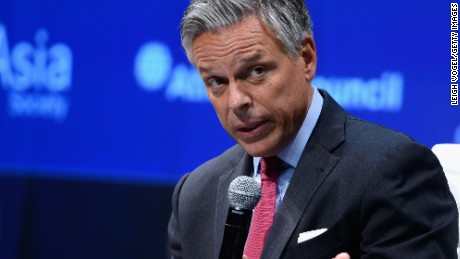 NEW YORK, NY - OCTOBER 02:  Chairman of the Atlantic Council Board of Directors Jon Huntsman speaks on stage during the 2015 Concordia Summit at Grand Hyatt New York on October 2, 2015 in New York City.  (Photo by Leigh Vogel/Getty Images for Concordia Summit)
