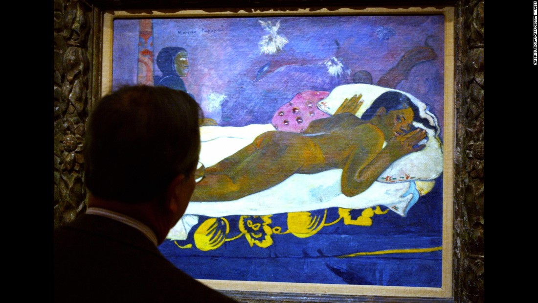 "Gauguin left his native France for Tahiti, where he produced a series of sensual paintings such as ""The Spirit of the Dead Watch."""