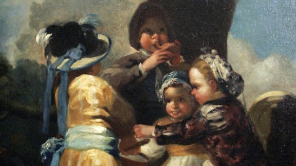 """His paintings often depicted images of insanity, but also milder themes such as his """"Children with a Cart,"""" shown here."""