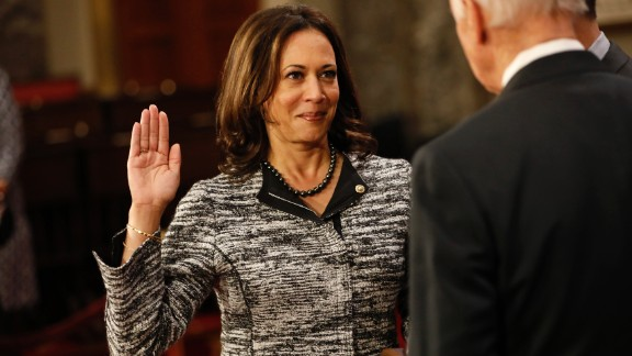 Sen. Kamala Harris participates in a reenacted swearing-in with U.S. Vice President Joe Biden in the Old Senate Chamber at the U.S. Capitol on January 3, 2017 in Washington, DC.