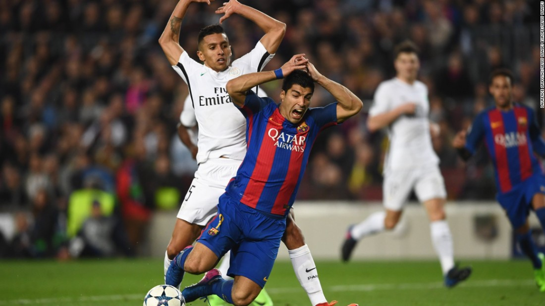 A pinpoint Neymar freekick in the 88th minute might have induced Parisian nerves but it wasn't until Luis Suarez went down in the penalty area in added time that Barcelona truly believed.