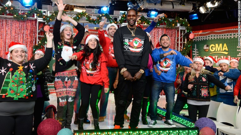 "2 Chainz hosts the annual ugly sweater contest, on ""Good Morning America,"" in December 2015."