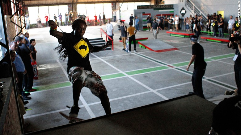 Lil Wayne skates in a park he helped finance in 2012 in the Lower Ninth Ward of New Orleans.