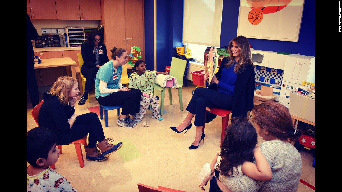 "The first lady's Twitter account posted this photo of Trump reading a book to children at New York-Presbyterian Hospital. ""Honoring children #worldbookday,"" <a href=""https://twitter.com/FLOTUS/status/837417717133111297"" target=""_blank"">the tweet said in March.</a>"