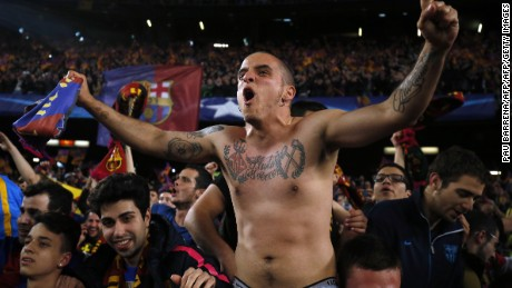 Barcelona fans celebrate the club's momentous victory over PSG at the Camp Nou stadium, March 8, 2017.