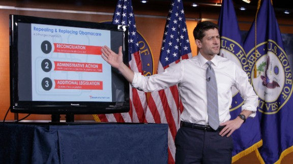 House Speaker Paul Ryan of Wis. uses charts and graphs to make his case for the GOP