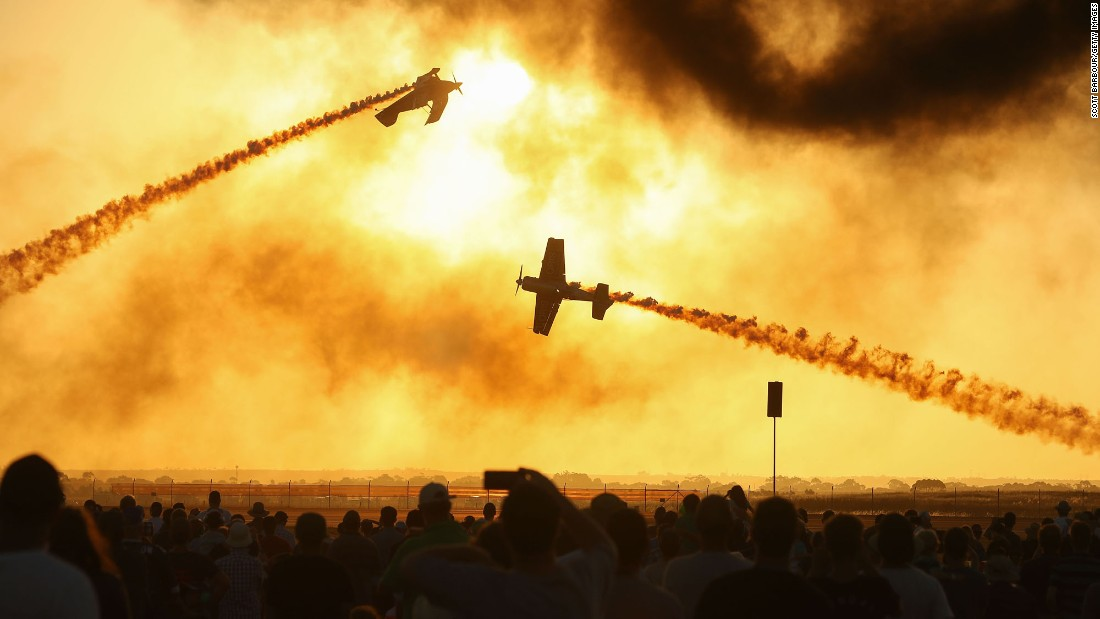 A crowd watches an air show in Avalon, Australia, on Friday, March 3.