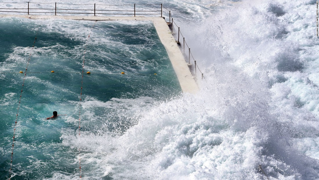 A large wave pours into an ocean pool at Sydney's Bondi Beach on Monday, March 6.