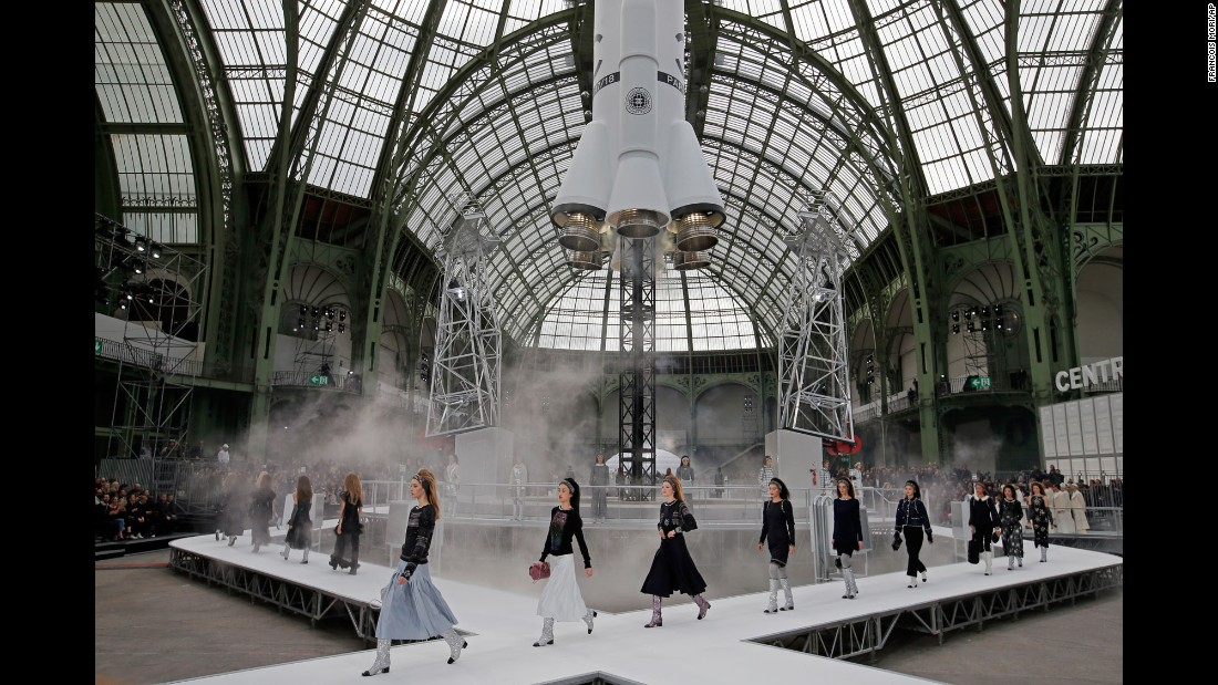 A rocket is the centerpiece for a Chanel fashion show in Paris on Tuesday, March 7.