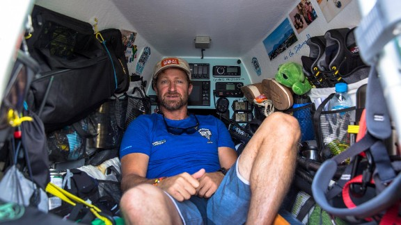 The cabin of Bertish's custom-made paddle board was packed with navigation equipment and supplies for the 93-day crossing.