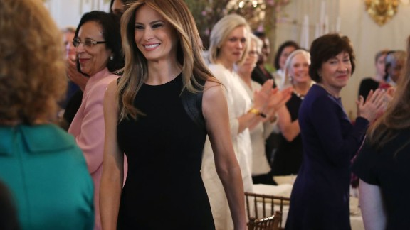 WASHINGTON, DC - MARCH 08:  First lady Melania Trump arrives at a luncheon she was hosting to mark International Women's Day in the State Dining Room at the White House March 8, 2017 in Washington, DC.  (Photo by Mark Wilson/Getty Images)