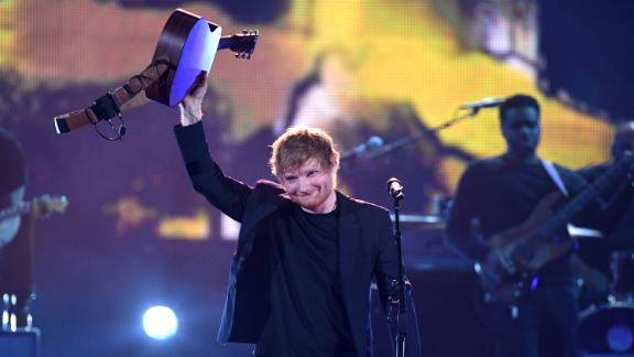 Singer Ed Sheeran performing at he 2017 iHeartRadio Music Awards