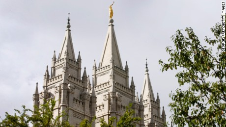 A statue of the Angel Moroni atop the Salt Lake Temple in a 2015 photo.