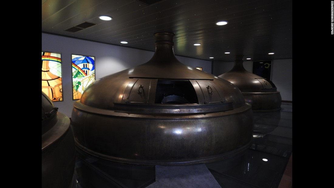 The newly installed fermentation vats are in constant use to produce 22 million bottles of beer a year.