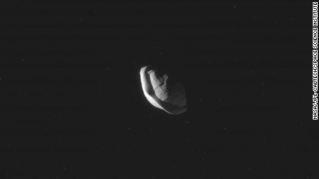 The images of Saturn's moon, Pan, were taken on March 7.