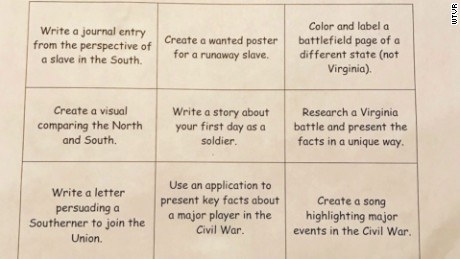 Parents concerned over Civil War homework.