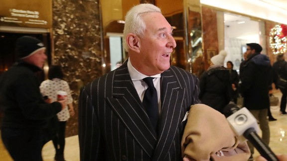 Roger Stone speaks to the media at Trump Tower on December 6, 2016, in New York City.