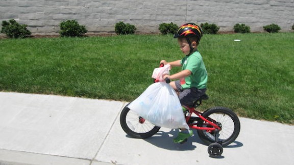 Ryan Hickman, age  3½, in his early recycling years.