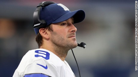 ARLINGTON, TX - NOVEMBER 20:  Tony Romo #9 of the Dallas Cowboys looks on as the Dallas Cowboys take on the Baltimore Ravens in the fourth quarter at AT&T Stadium on November 20, 2016 in Arlington, Texas.  (Photo by Tom Pennington/Getty Images)
