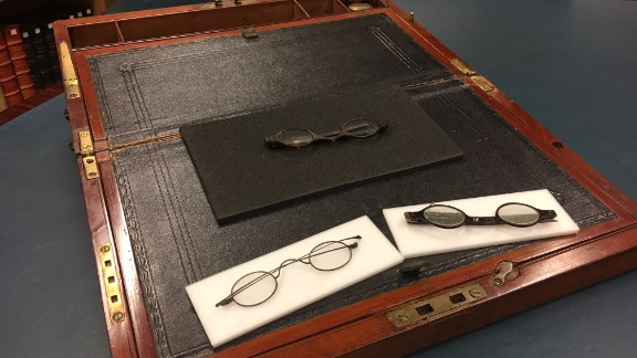 Three pairs of spectacles found inside a portable writing desk that belonged to Jane Austen
