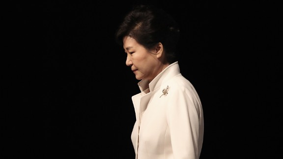 Former South Korean President Park Geun-hye leaves an event in Seoul, South Korea, on March 1, 2016. A year later, the country's Constitutional Court upheld a parliamentary vote to impeach her over allegations of corruption and cronyism. Lawmakers and judges agreed that she abused her authority in helping a friend raise donations from companies.