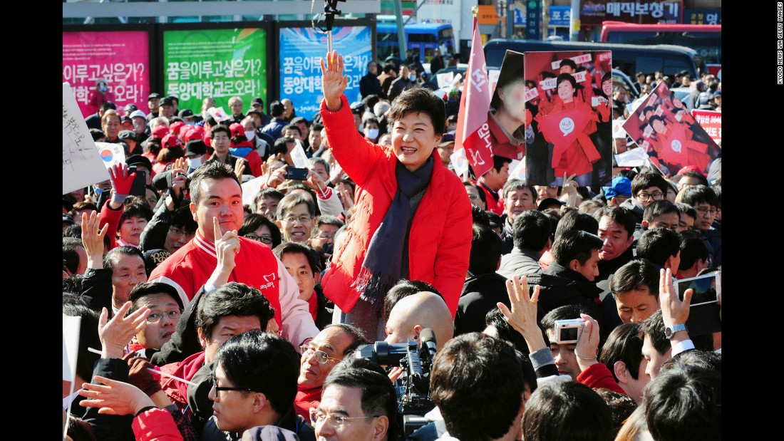 Park waves to her supporters in November 2012 after making her first official stump speech as a presidential candidate.