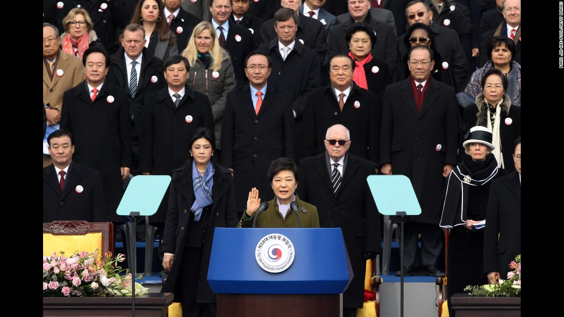 Park was sworn in as South Korea's first female president in February 2013.