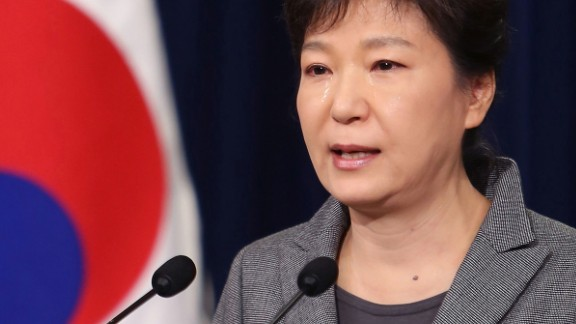 Park sheds tears as she addresses the nation on the Sewol ferry disaster in May 2014. Park was criticized for her handling of the tragedy as it became apparent during the investigation that the ferry's sinking was a man-made disaster.