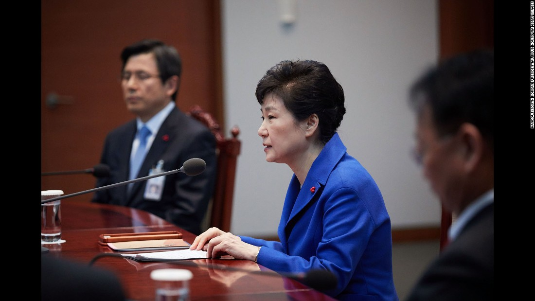 "Park attends an emergency cabinet meeting in December after the National Assembly <a href=""http://www.cnn.com/2016/12/09/asia/south-korea-park-geun-hye-impeachment-vote/"">voted overwhelmingly for an impeachment motion.</a>"
