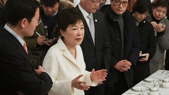 Park speaks to a select group of reporters at the Blue House in January. Park rejected accusations of corruption and refused to step down.
