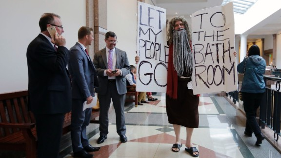 """John Erler protests at the Texas state capitol on Tuesday, March 7, as a state Senate committee <a href=""""http://www.cnn.com/2017/03/08/politics/texas-bathroom-bill/"""" target=""""_blank"""">began hearings about Senate Bill 6,</a> legislation that would require all Texans to use the bathroom that corresponds to the sex on their birth certificates when they're in public schools and government-funded buildings. Critics argue the bill unfairly discriminates against transgender people. Supporters say the bill would protect women and children and give them privacy and that it isn't intended to target any group."""