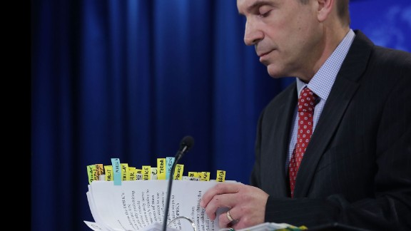 """Mark Toner, acting spokesman of the US State Department, thumbs through notes during a press briefing in Washington on Tuesday, March 7. It was the State Department's <a href=""""http://www.cnn.com/2017/03/07/politics/state-department-briefings-resume/"""" target=""""_blank"""">first press briefing since President Trump took office.</a> The news conference lasted just over an hour and included pointed questions on North Korea's recent missile launch, the administration's updated travel ban and Secretary Rex Tillerson's upcoming travel to Asia."""